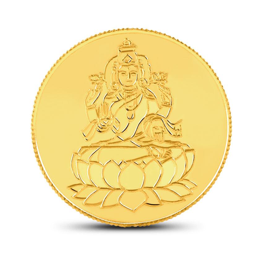 Gold Coin 22 Karat Yellow Gold 8g, 22Kt Lakshmi Gold Coin