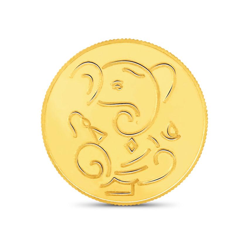 1g, 22Kt Lucky Ganesha Gold Coin