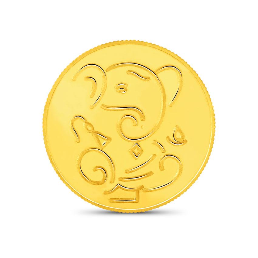 1g, 24Kt Lucky Ganesha Gold Coin
