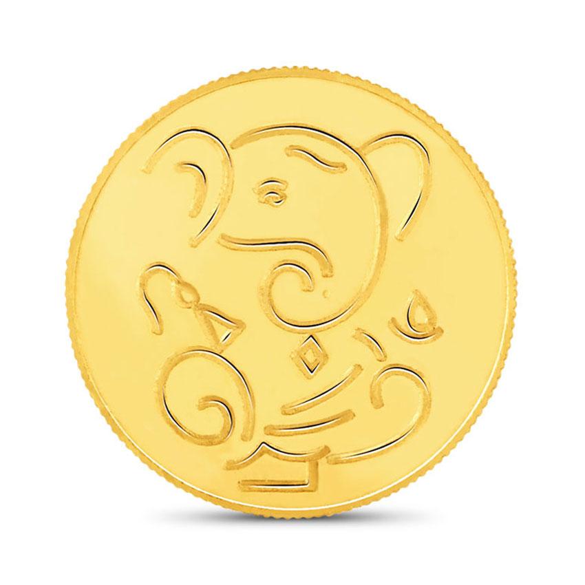 2g, 22Kt Lucky Ganesha Gold Coin