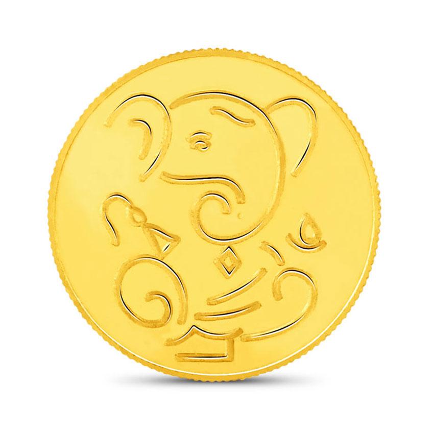 2g, 24Kt Lucky Ganesha Gold Coin