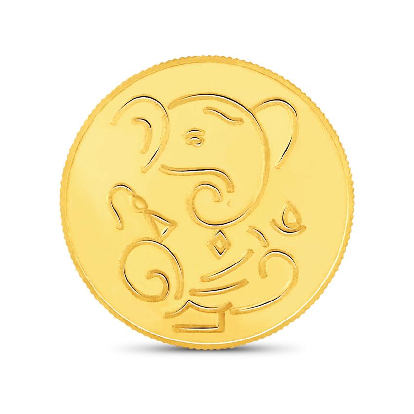 4g, 22Kt Lucky Ganesha Gold Coin