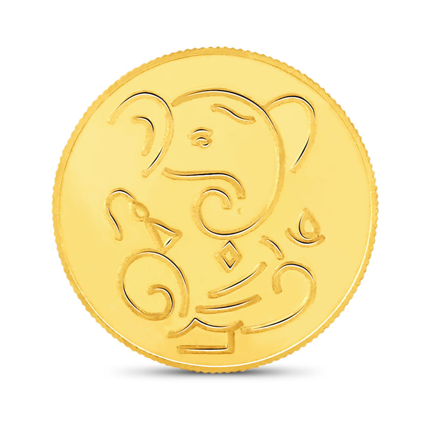 8g, 22Kt Lucky Ganesha Gold Coin