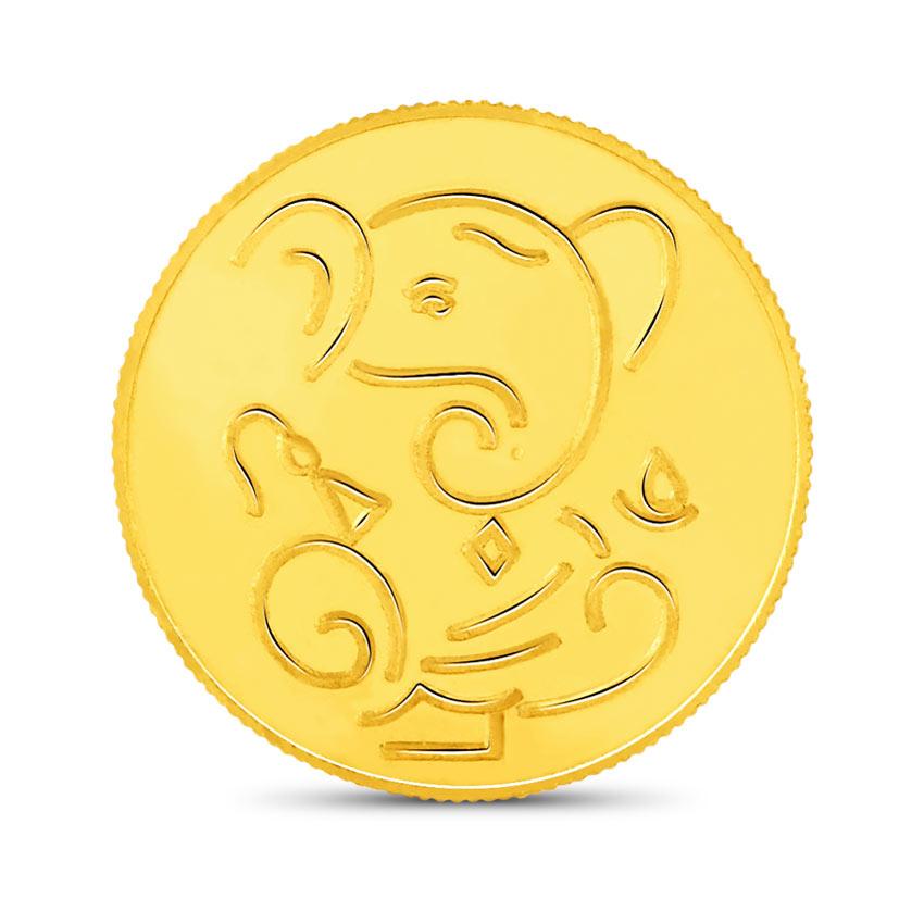 8g, 24Kt Lucky Ganesha Gold Coin