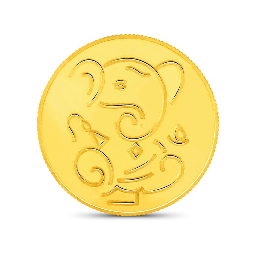 5g, 24Kt Lucky Ganesha Gold Coin