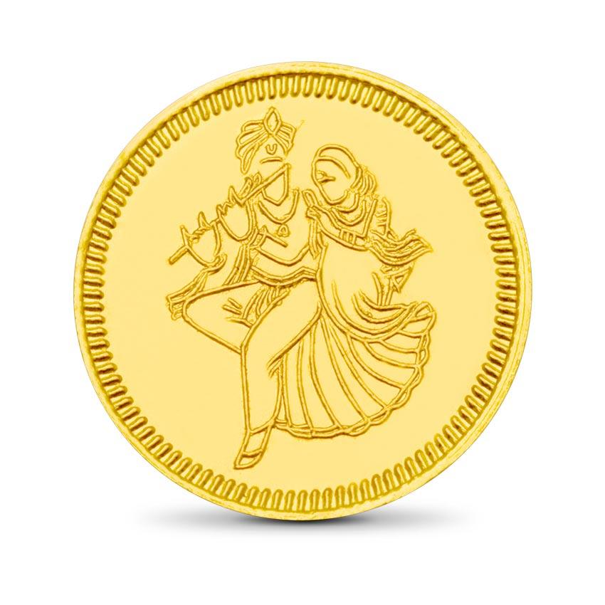 8g, 24Kt 24kt Radhe-Krishna Gold Coin