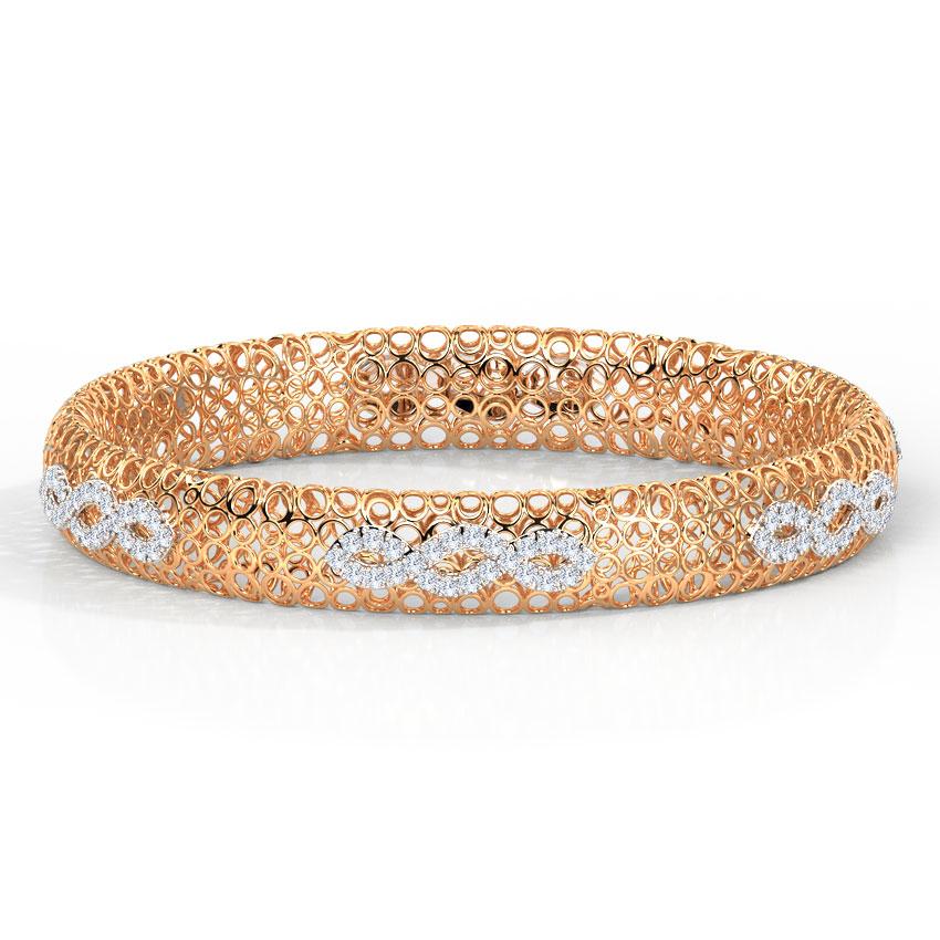 Diamond Bangles 18 Karat Rose Gold Althea Trellis Diamond Bangle