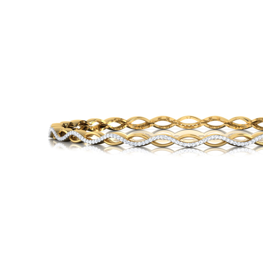 Diamond Bangles 18 Karat Yellow Gold Bette Alter Twisted Bangle