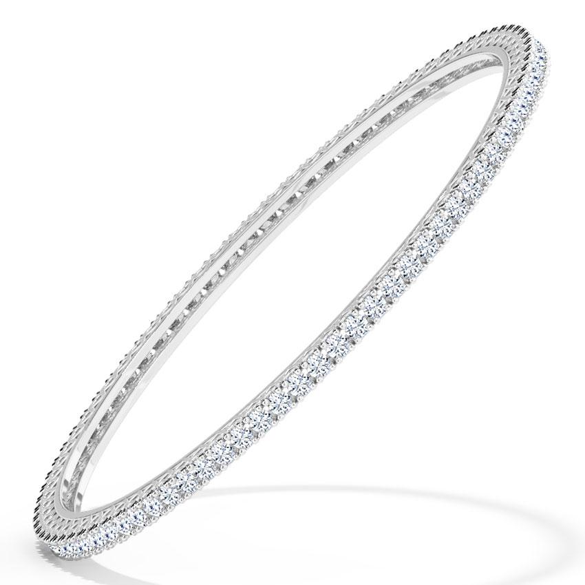 Diamond Bangles 18 Karat White Gold Shining Diamond Bangle