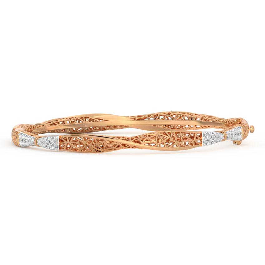 Diamond Bangles 18 Karat Rose Gold Swivel Diamond Bangle
