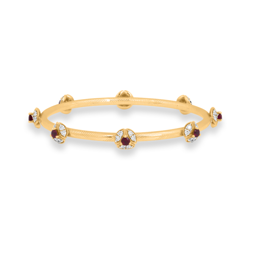 Diamond,Gemstone Bangles 18 Karat Yellow Gold Delightful Bloom Gemstone Bangle