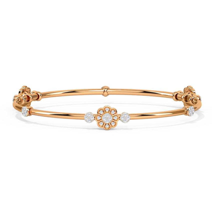 Diamond Bangles 14 Karat Rose Gold Floret Diamond Bangle