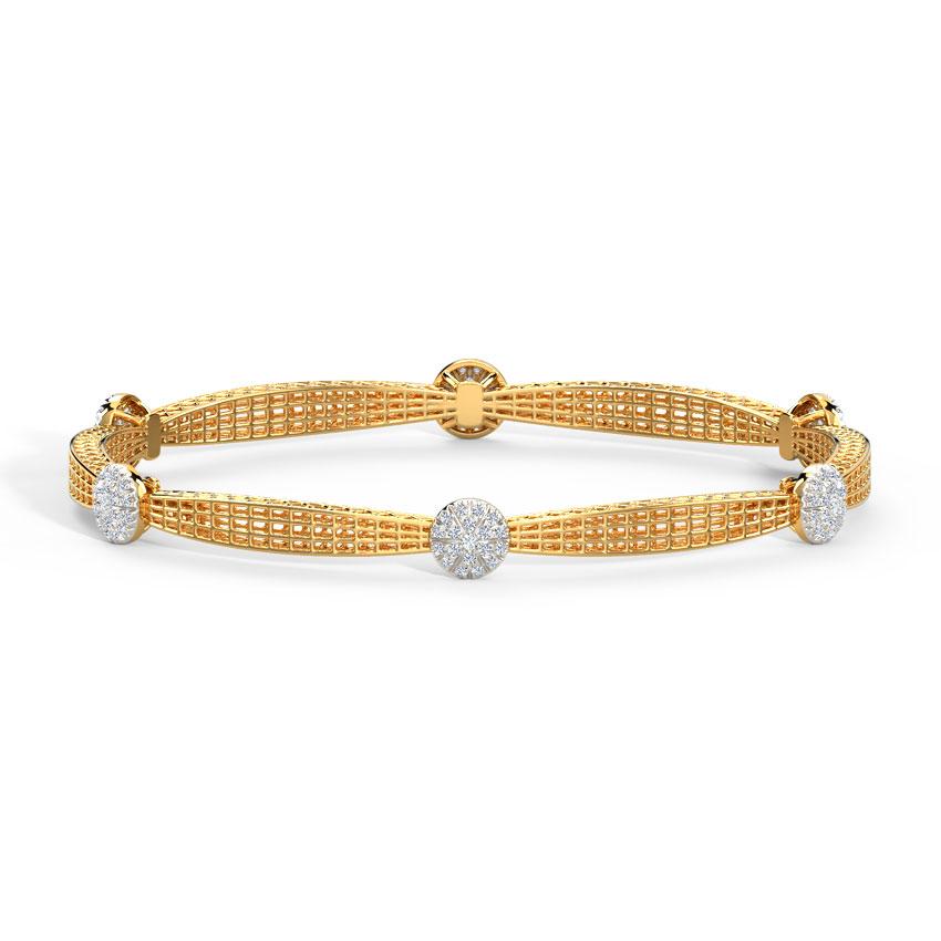 Diamond Bangles 14 Karat Yellow Gold Mesh Cluster Diamond Bangle