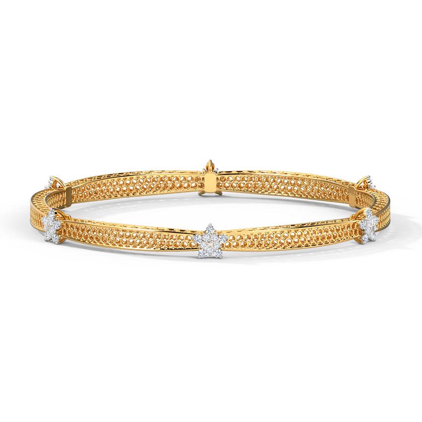 Diamond Bangles 14 Karat Yellow Gold Blossom Mesh Diamond Bangle