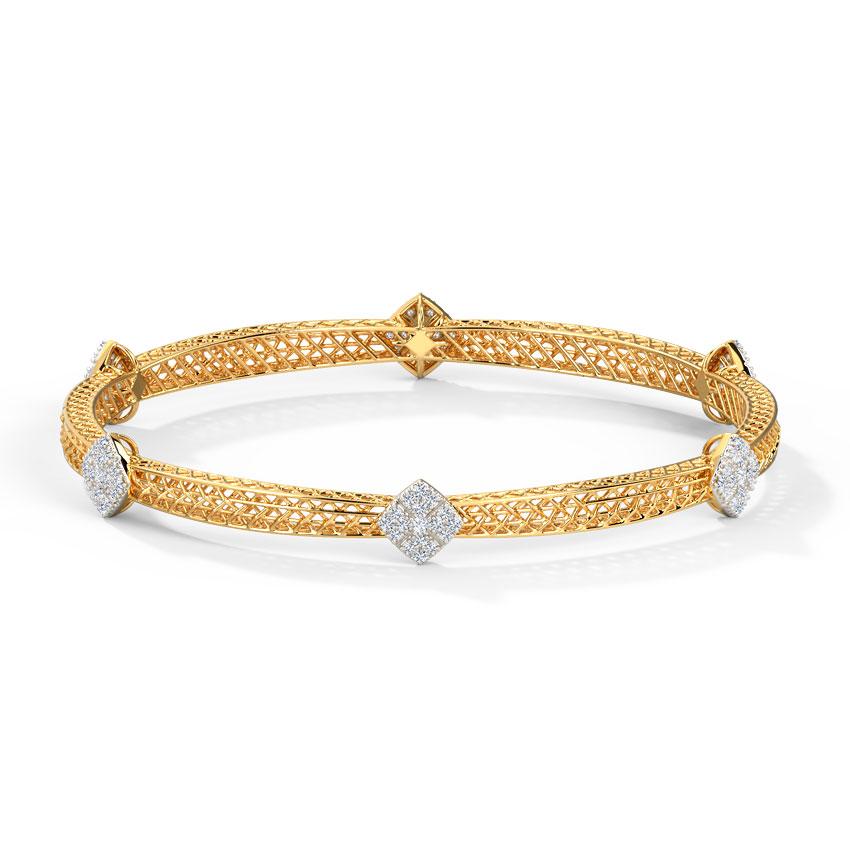Diamond Bangles 14 Karat Yellow Gold Glitter Mesh Diamond Bangle