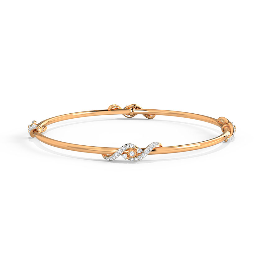Diamond Bangles 14 Karat Rose Gold Trayi Diamond Bangle