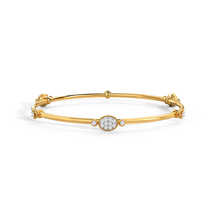 Diamond Bangles 14 Karat Yellow Gold Sejal Diamond Bangle