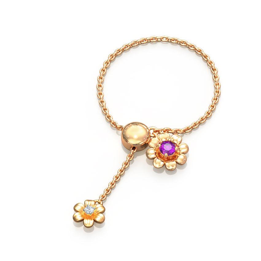 Diamond,Gemstone Adjustable Rings 14 Karat Rose Gold Duo Floret Gemstone Flexi Ring