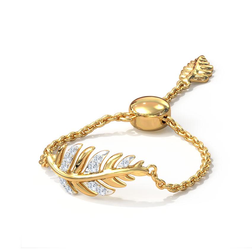Diamond Adjustable Rings 14 Karat Yellow Gold Pine Adjustable Ring