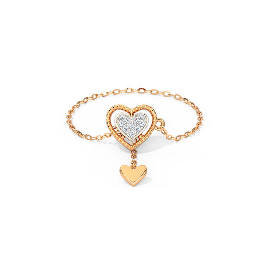 Diamond Adjustable Rings 14 Karat Rose Gold Gleaming Heart Diamond Flexi Ring