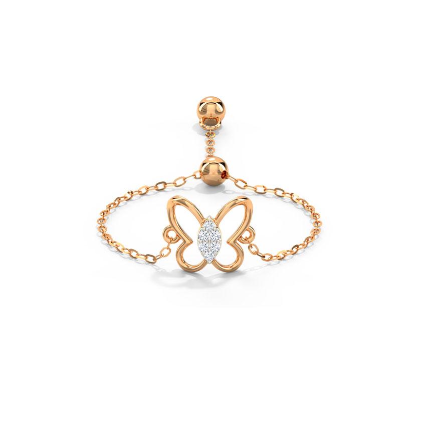 Diamond Adjustable Rings 14 Karat Rose Gold Petite Butterfly Diamond Flexi Ring