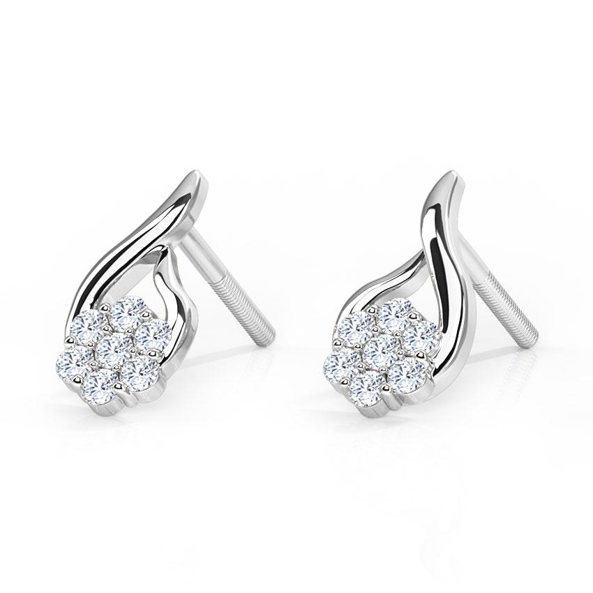 Threaded Flower Diamond Earrings