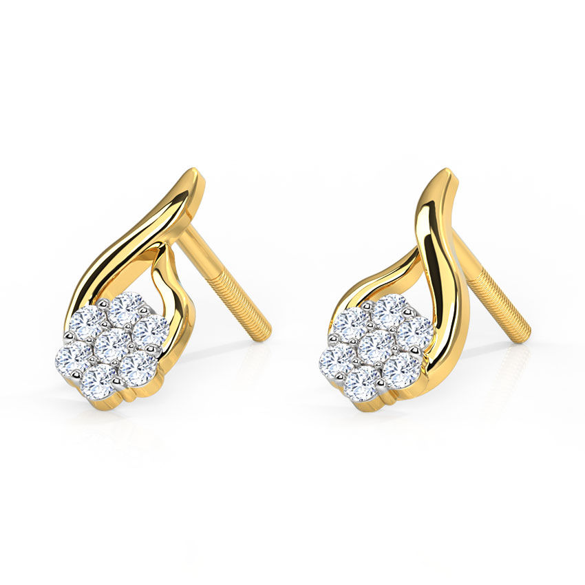 Diamond Earrings 18 Karat Yellow Gold Threaded Flower Diamond Earrings