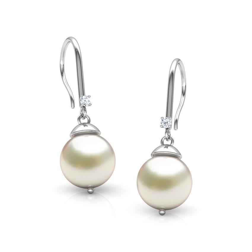 Diamond,Gemstone Earrings 14 Karat White Gold Felicity Gemstone Drop Earrings