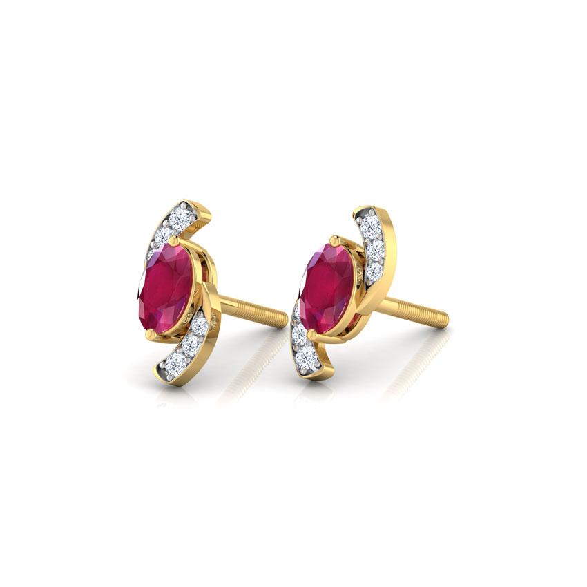 Diamond,Gemstone Earrings 18 Karat Yellow Gold Spin Gemstone Stud Earrings