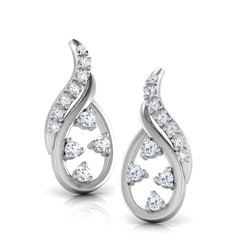 Diamond Earrings 14 Karat White Gold Glistening Dew Diamond Drop Earrings
