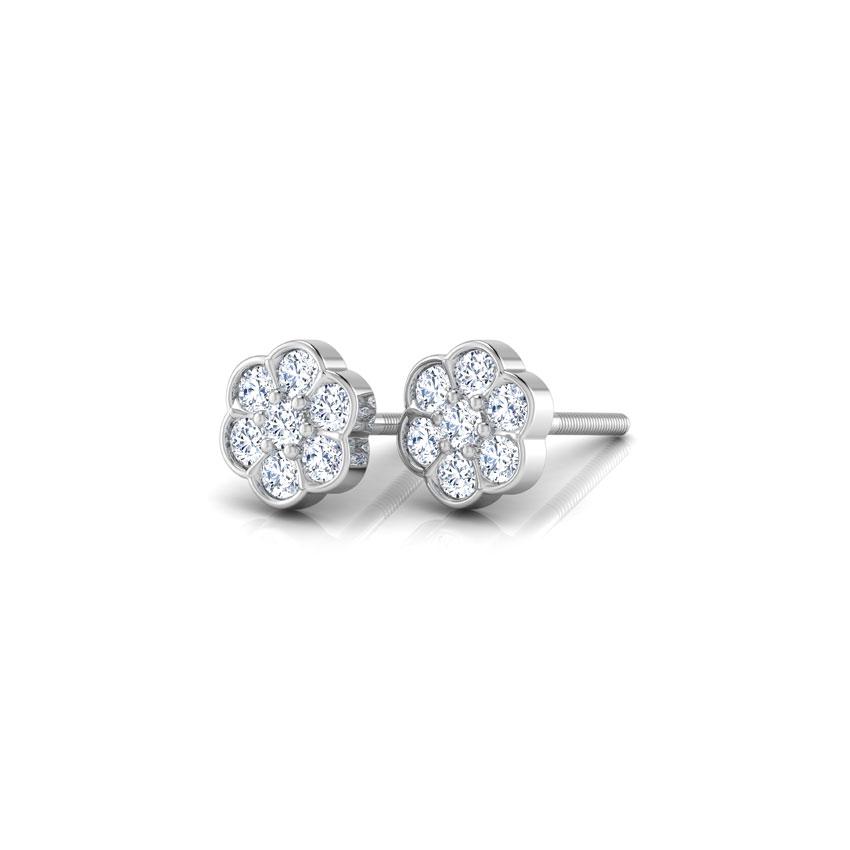 Diamond Earrings 18 Karat White Gold Floral Sparkle Diamond Stud Earrings