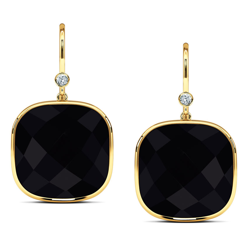 Checkered Cushion Drop Earrings