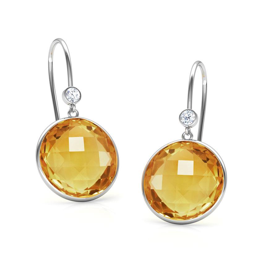 Diamond,Gemstone Earrings 18 Karat White Gold Blazing Sun Gemstone Drop Earrings