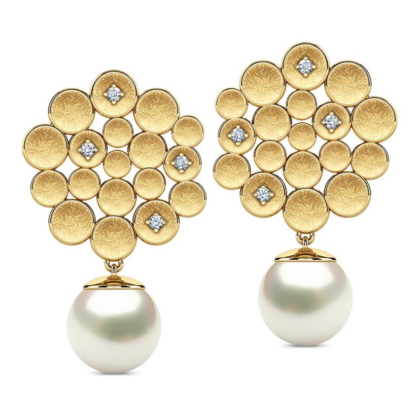 Diamond,Gemstone Earrings 18 Karat Yellow Gold Honeycomb Gemstone Stud Earrings