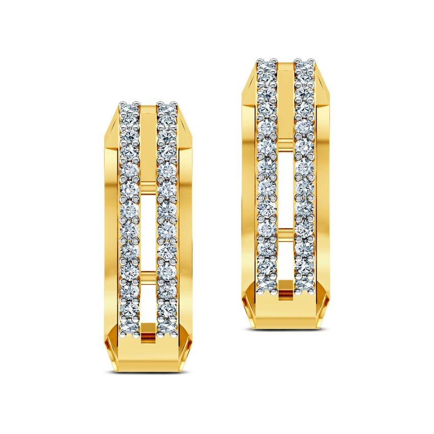 Diamond Earrings 18 Karat Yellow Gold Celtic Diamond Hoop Earrings