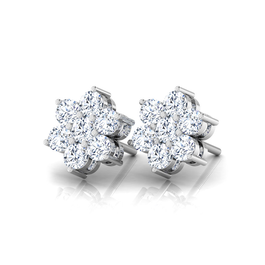 Diamond Earrings 14 Karat White Gold Classic Seven-Stone Diamond Studs