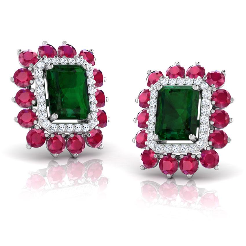 Diamond,Gemstone Earrings 18 Karat White Gold Zenia Gemstone Stud Earrings
