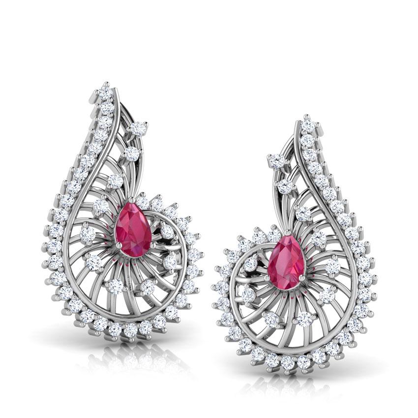 Diamond,Gemstone Earrings 18 Karat White Gold Komal Gemstone Drop Earrings