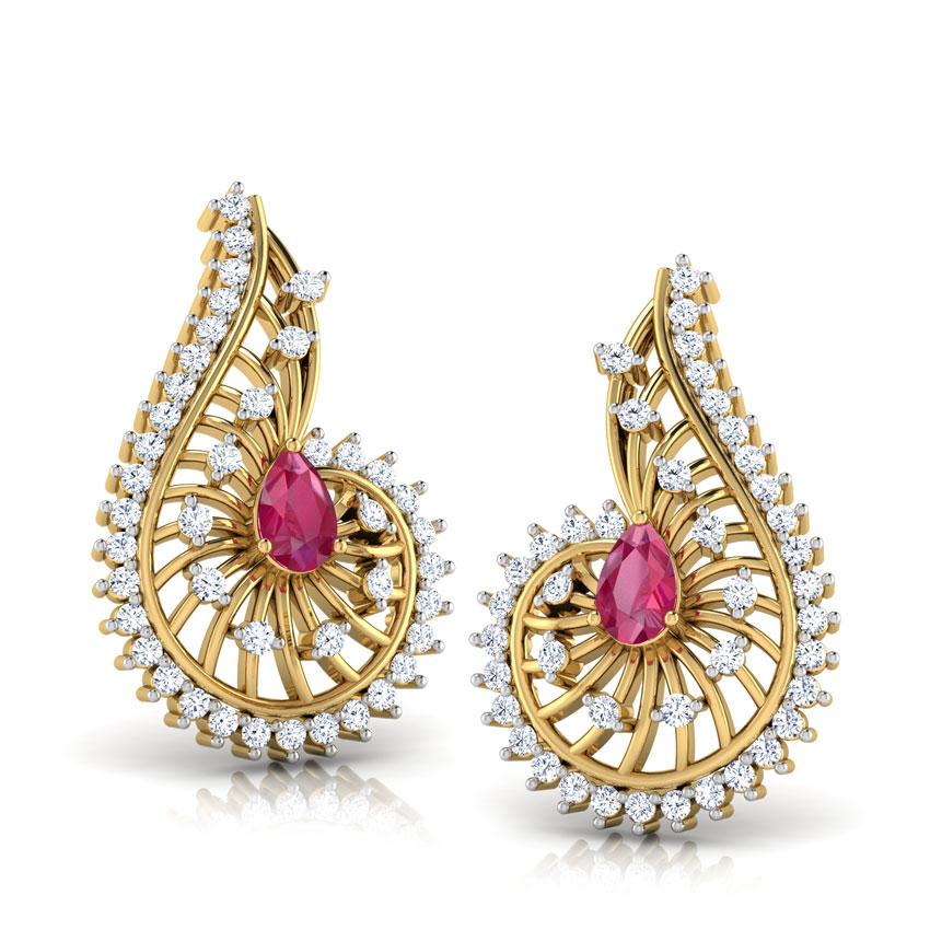 Diamond,Gemstone Earrings 14 Karat Yellow Gold Komal Gemstone Drop Earrings