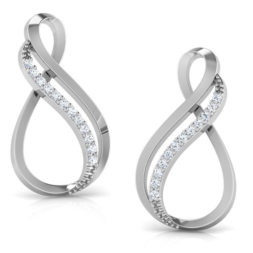 Diamond Earrings 18 Karat White Gold Twin Infinity Diamond Drop Earrings