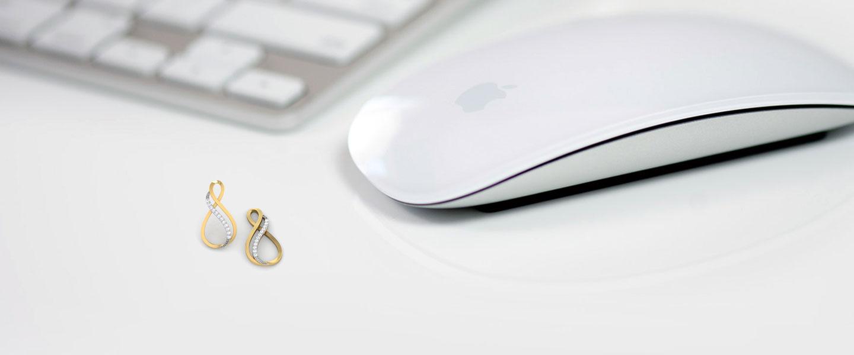 Diamond Earrings 18 Karat Yellow Gold Twin Infinity Diamond Drop Earrings