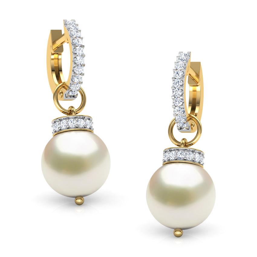 Diamond,Gemstone Earrings 18 Karat Yellow Gold Pearl Bud Gemstone Hoop Earrings