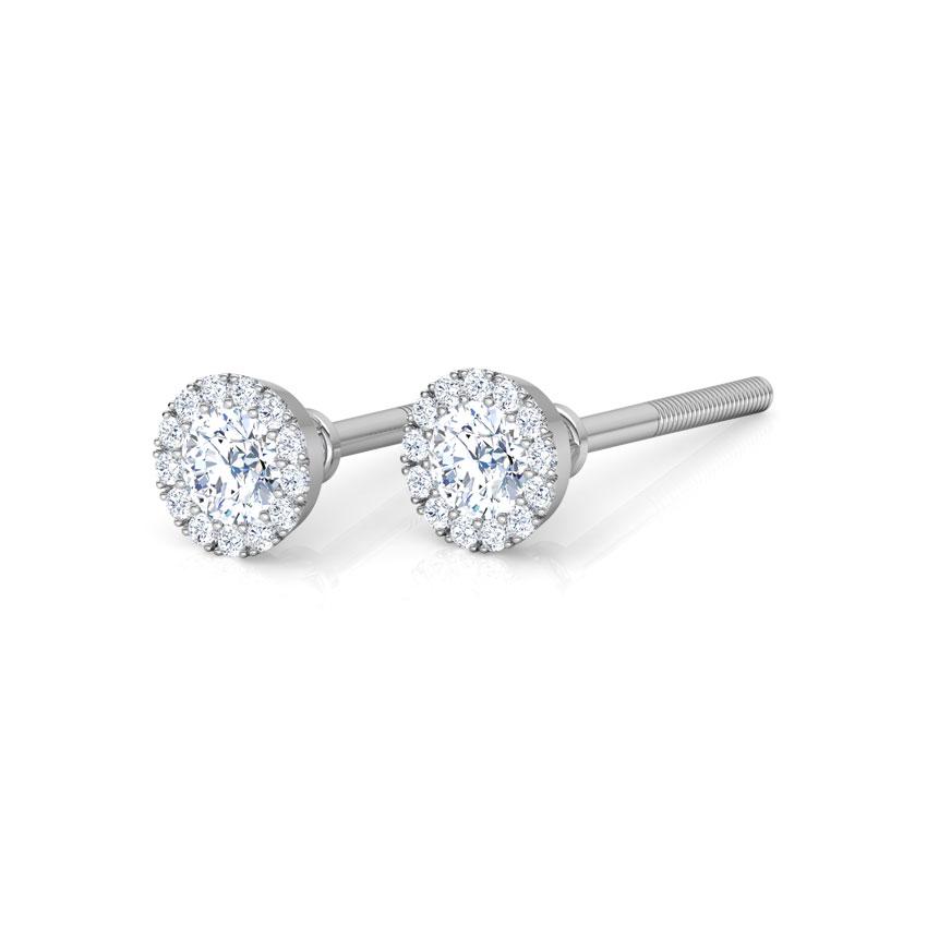 Diamond Earrings 18 Karat White Gold Halo Aura Diamond Stud Earrings