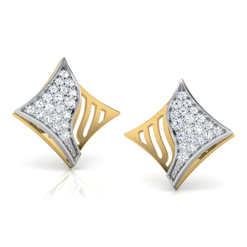 Wave Diamond Stud Earrings