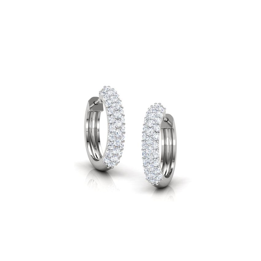Diamond Earrings 18 Karat White Gold Stacked Stones Diamond Earrings