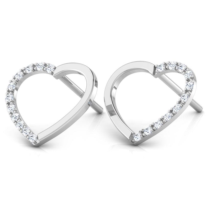 Diamond Earrings 18 Karat White Gold Love Blossom Diamond Stud Earrings