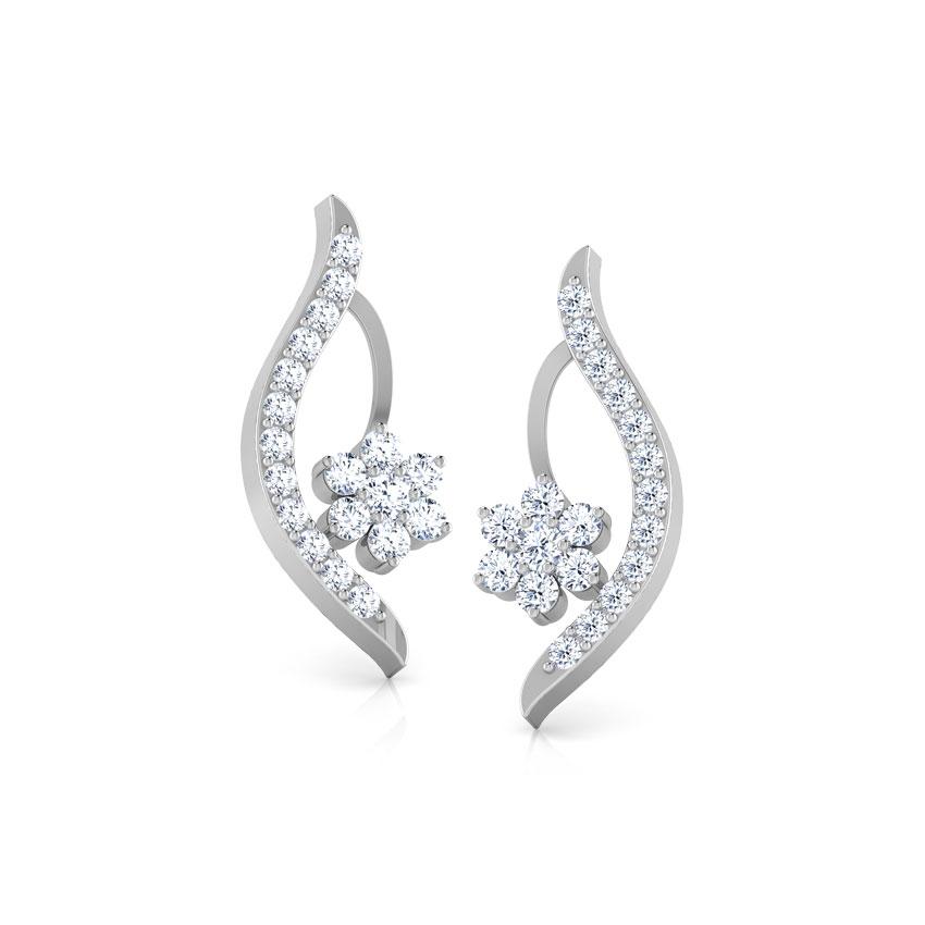 Diamond Earrings 14 Karat White Gold Petite Fleur Diamond Stud Earrings
