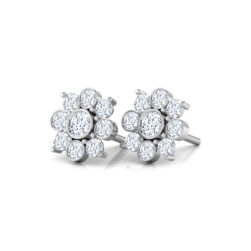 Diamond Earrings 14 Karat White Gold Mansi Flower Diamond Stud Earrings