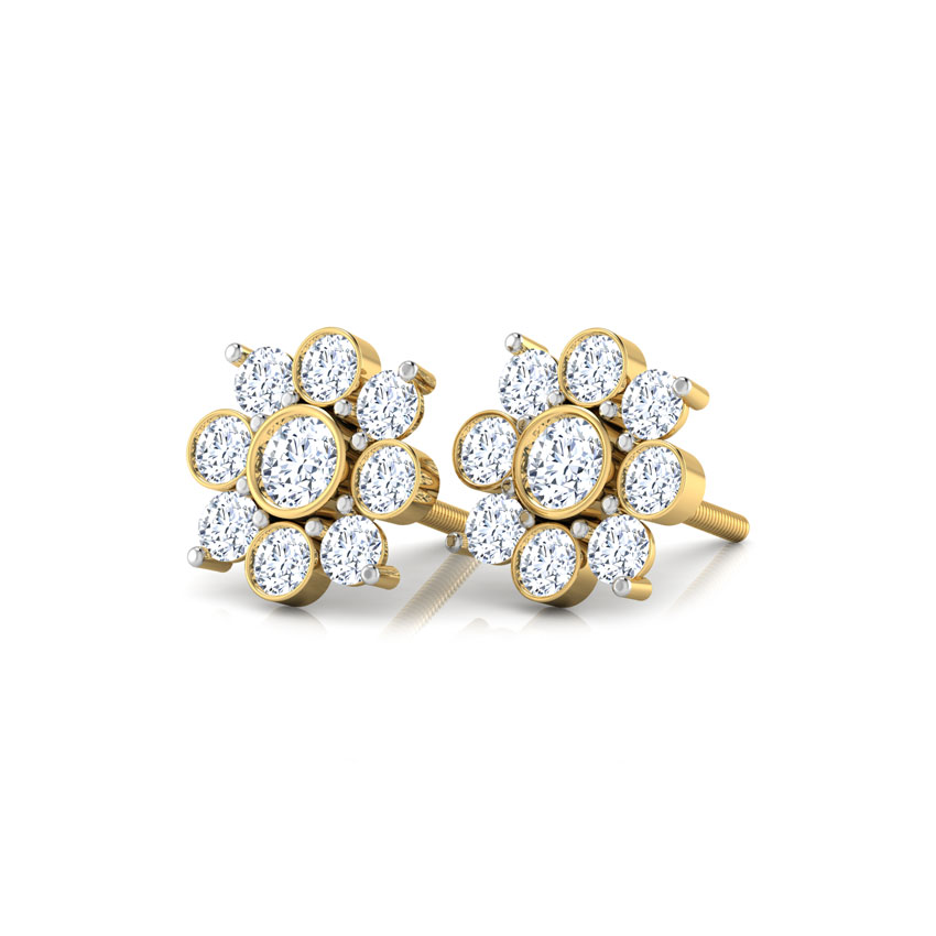 Diamond Earrings 18 Karat Yellow Gold Mansi Flower Diamond Stud Earrings