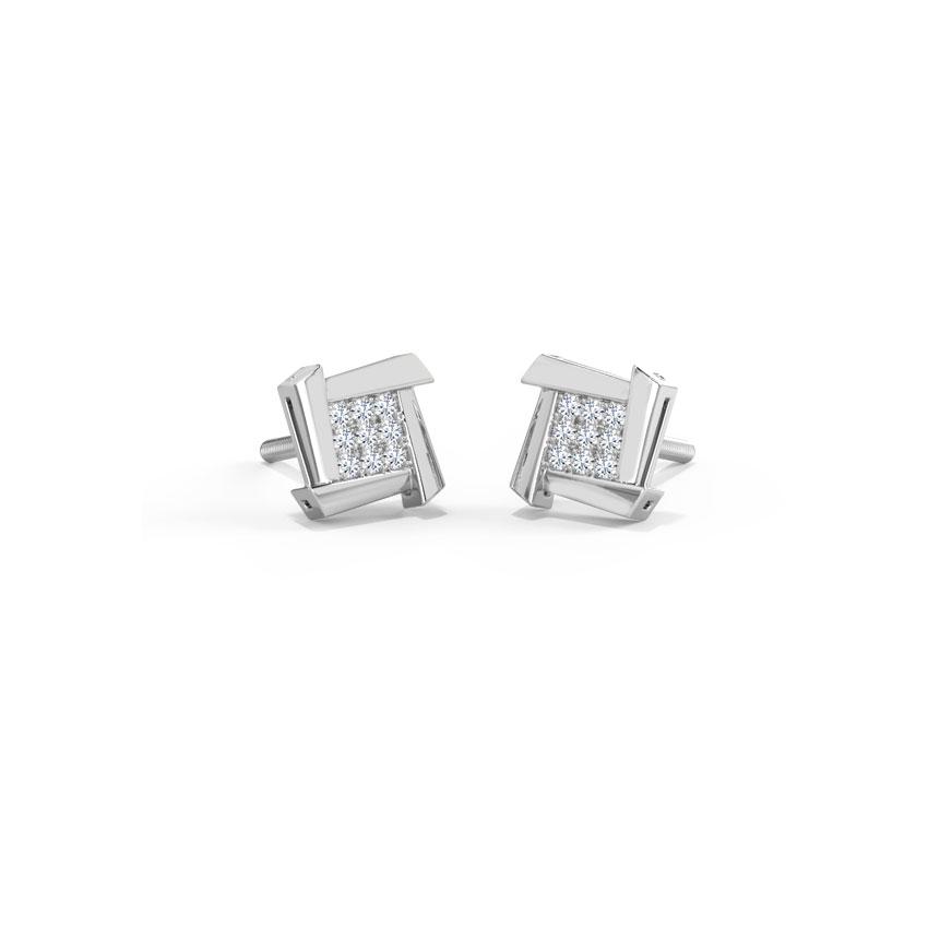 Diamond Earrings 18 Karat White Gold Ludo Square Stud Earrings